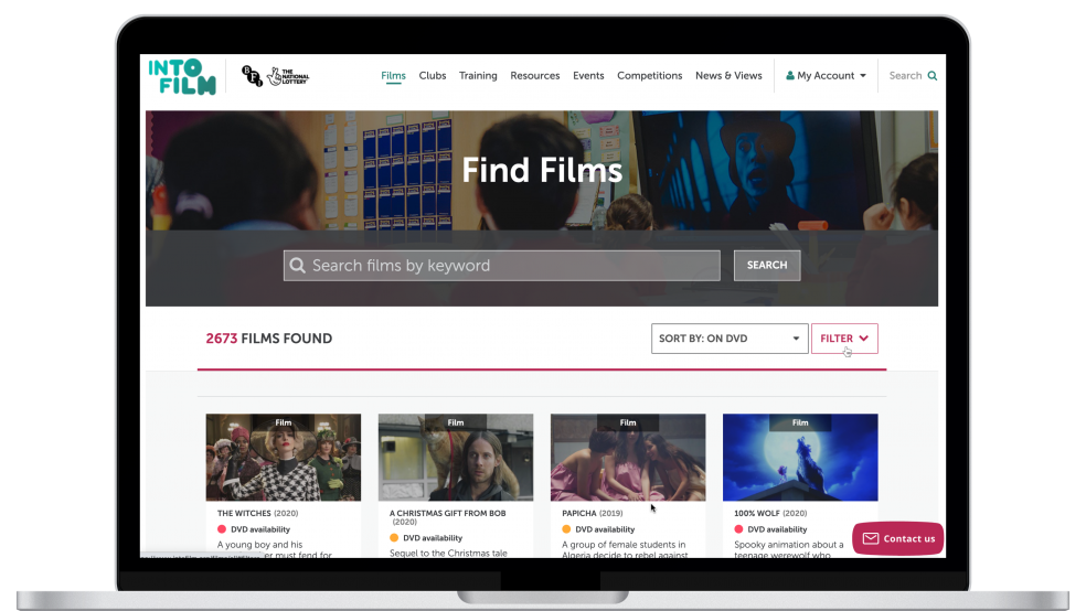 The film catalogue as viewed on a laptop