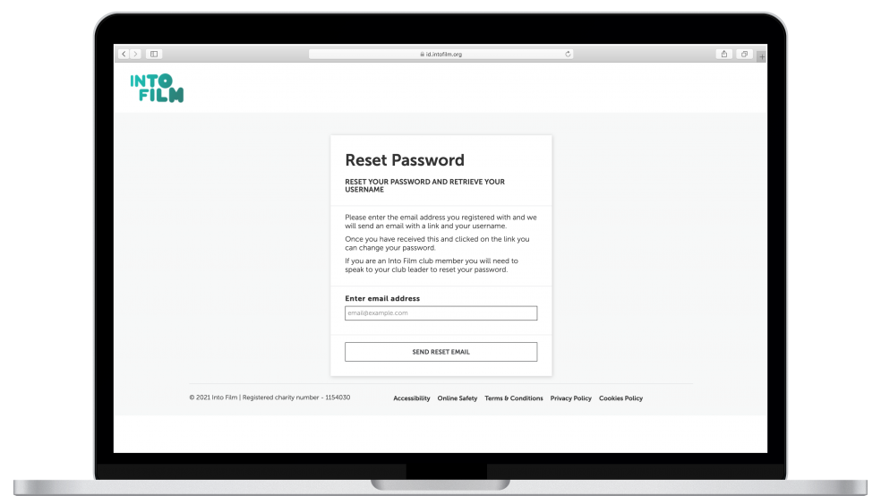 Reset password by entering email address