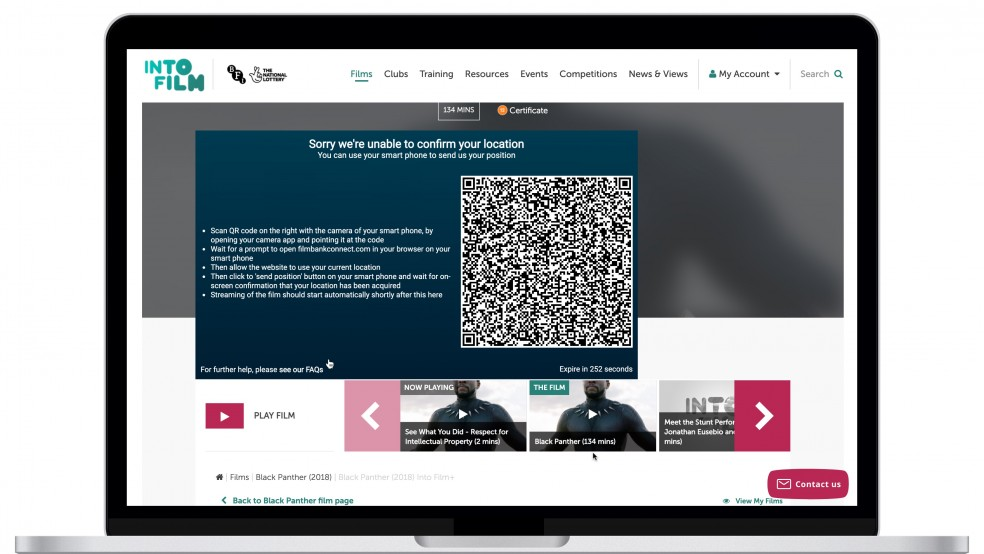 A screenshot of a QR code to find users location to watch Into Film+
