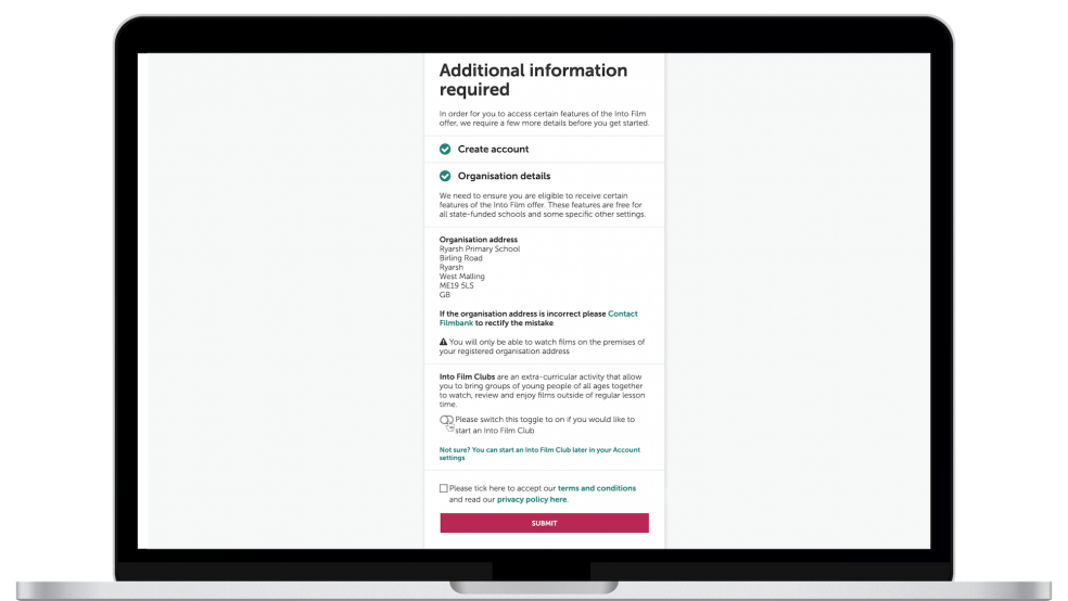 Sign up allowing user option to create a club and tick terms and conditions