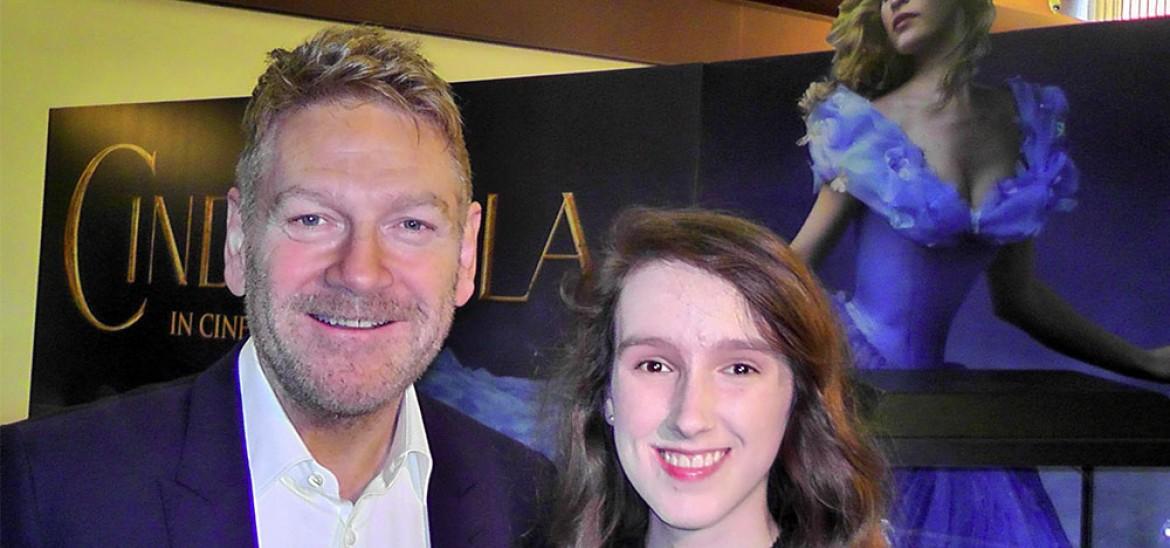 Kenneth Branagh with young reporter at the Cinderella premiere