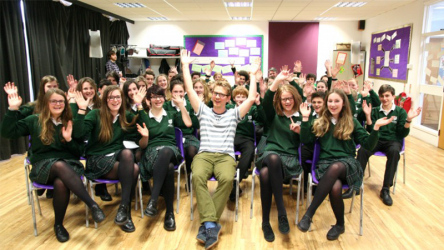 Robert Grieves animation in school visit